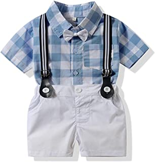 Baby Boy Shirt and Tie Sets Long Sleeve Woven Top+ Bowknot+ Shorts with Suspender Straps Outfits