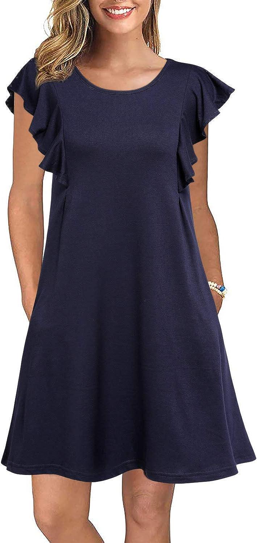 WOOSEA Women's Summer Casual T Shirt Dresses Ruffle Sleeve Swing Dress Pockets
