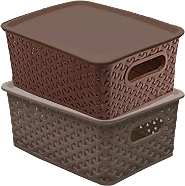 Kuber Industries Plastic 2 Pieces Small Size Multipurpose Solitaire Storage Basket with Lid (Multi) -CTLTC10895