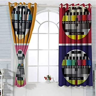 Modern Bedroom Curtains Blackout Shades Television Radio Channel Signal Digital Sign in Four Collage Artwork Image Print Darkening Drapes for Bedroom W107 x L96 Inch Multicolor