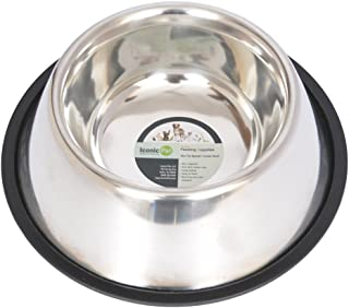 Iconic Pet Spaniel/Cocker Heavy Weight Stainless Steel Dog Food /Water Bowl in Varying Sizes, Ideal for long eared breeds Basset Hound, Beagle, Blood Hound, Afghan Hound, English Cocker, Irish Setter