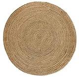 HAMID Alfombra Yute Alhambra Color Natural Redonda - Alfombra 100% Fibra de Yute (150x150cm)