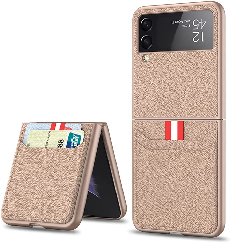 SHIEID Samsung Flip 3 Case, Galaxy Flip 3 5G Case with Leather Wallet Card Holder Phone Case Compatible with Samsung Galaxy Z Flip 3 5G, Mist Gold