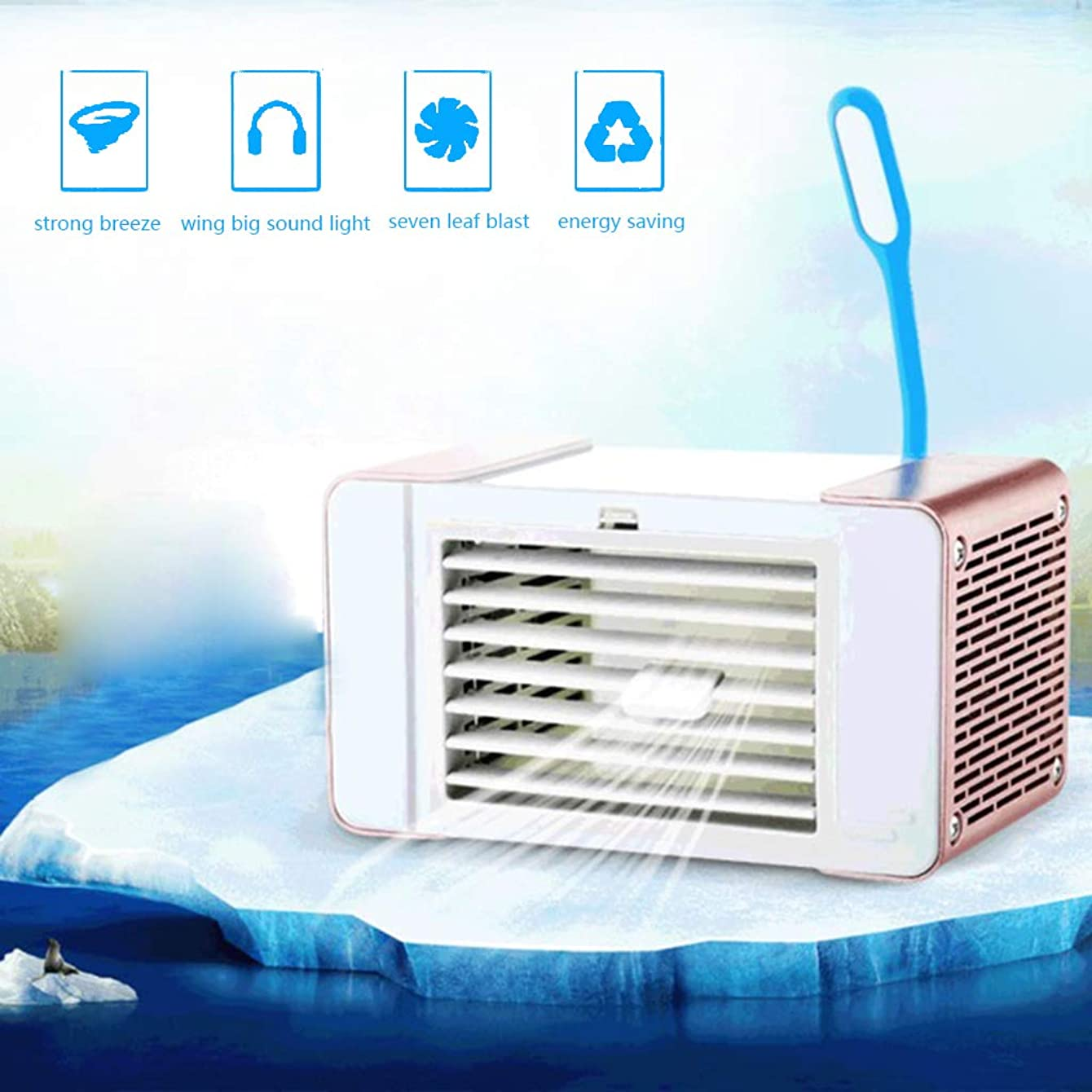 K-Flame Portable Air Cooler USB Fan with LED Light Adjustable Air Conditioner Mini Air Humidifier Purifier for Home Office Camping