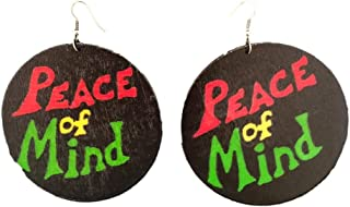 Peace of Mind /100% Natural Earrings/Natural Hair/African American Woman Earring/African Wood Jewelry Natural Craft Wood C...