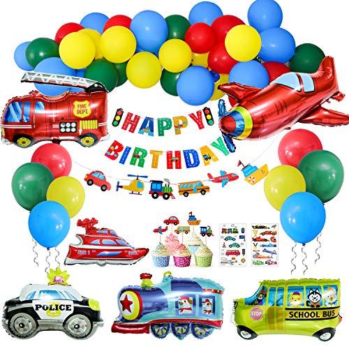 Cumpleaños Decoraciones, 60 Piezas Transporte Tema de Suministro de Fiesta-40 Globos de Látex,6 Globos de Aluminiopara Niño Cumpleaños