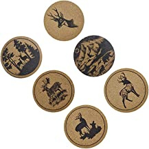 Bestonzon 6Pcs Antler Coaster Set Wood Drinks Coasters Set Insulation Round Coaster Bowl Pad Cup Mat for Home Kitchen Chri...