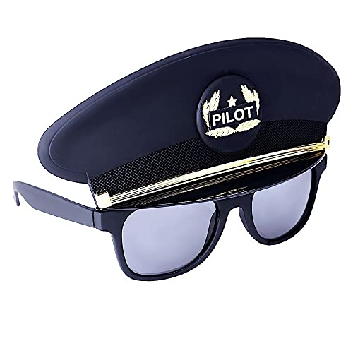 60da891a76 Sun-Staches Costume Sunglasses Black Cap Pilot Party Favors UV400