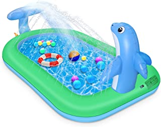 "Inflatable Sprinkler Pool for Kids, 75"" x 26"" Kiddie Pool with Splash, Dolphin Swimming Pool Sprinkler Pad Outdoor Backyar..."