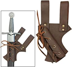 Armory Replicas Medieval Renaissance Hawk Wood Genuine Real Leather Sword Right Hand Frog Brown