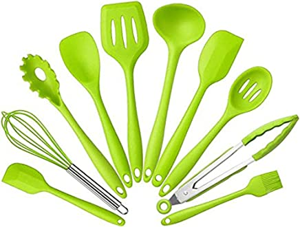 10PCS Silicone Kitchen Cooking Utensils – Heat Resistant Kitchenware Tools – Spoons & Brush & Food