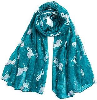 BYFRI Unicorn Horse Print Scarf Lightweight Large Soft Shawl Wraps Infinity Scarf for Women(Grey)
