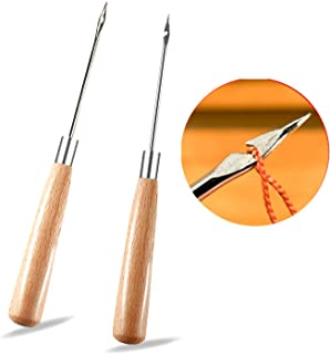 2 Pieces Leather Sewing Awl with Wood Handle, Hollow, Speedy Stitcher Sewing Set for DIY Leather Sewing