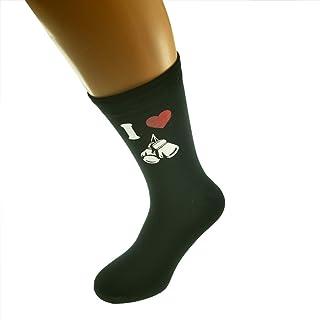 I Love Boxing Glove Image Printed on Black Mens Cotton Rich Socks