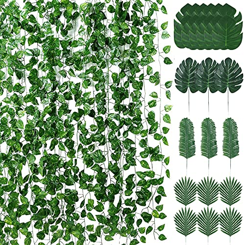 12 packs (83 feet) of artificial ivy garland fake plants and 24 artificial tropical leaves, hanging in the kitchen garden at home, wedding wall decoration and party jungle beach table decoration