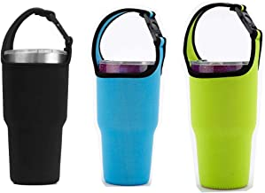 3 PackTumbler 30oz Carrier Holder Pouch with Shoulder Strap for YETI, Rtic, Atlin, Ozark Trail, Rambler 30 oz Insulated Tumbler Coffee Cup, Neoprene Sleeve with Carrying Handle - Black Blue Pink