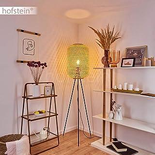 Lámpara de pie Quinto, lámpara de suelo de metal en negro, lámpara de pie en estilo bohemio, pantalla de mimbre natural con efecto de luz, 1 bombilla E27 máx. 40 W, interruptor de pie en el cable