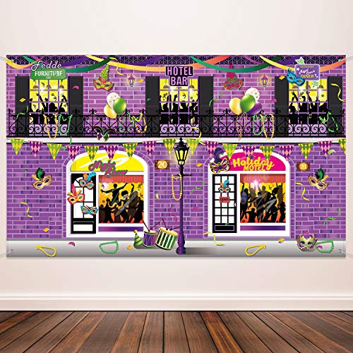 Carnival Decoration Banner Supplies Mardi Gras Photography Background for Mardi Gras Theme Party Birthday Party Carnival School Party Photo Shoot Backdrop Large Party Decoration