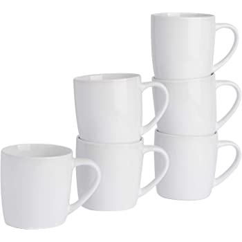 Argon Tableware Tea Coffee Mugs 6pc Contemporary Coloured Ceramic Cups Set 350ml White Pack of 6