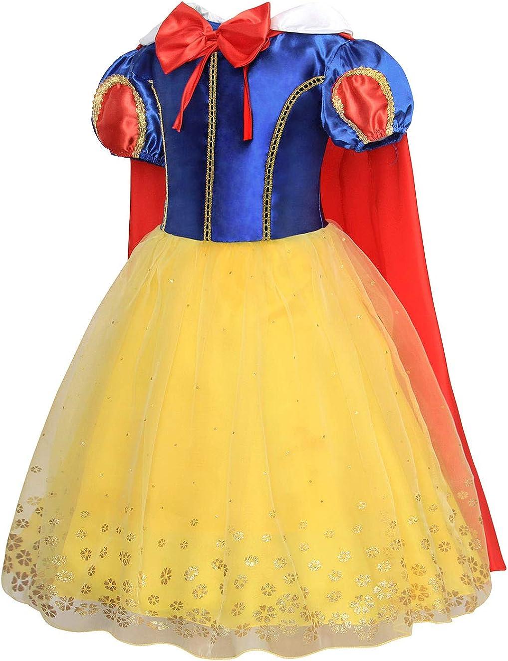 Jurebecia Disfraz de Blancanieves Vestidos de cumplea/ños para ni/ña de Halloween Cosplay Role Play Dress Up Disfraz de Fiesta Elegante Vestidos de Princesa Amarillo