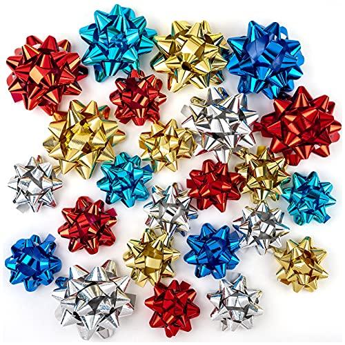 RUSPEPA Surtido De 24 Lazos 8 Estilos De Lazos De Regalo De Varios Tamaños (Rojo, Dorado, Plateado, Azul), Lazos De Regalo Autoadhesivos para Regalos, Navidad, Cumpleaños