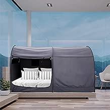 ベッドキャノピーベッドテント夢のテントプライバシースペースフルスリーピングテント屋内ポップアップポータブルフレームカーテン通気性グレーコテージ(マットレス含まず)光を減らす