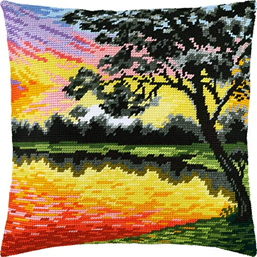 Sunset. Needlepoint Kit. Throw Pillow 16×16 Inches. Printed Tapestry Canvas, European Quality