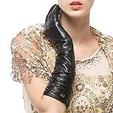 Nappaglo Damen Winter Lange Leder Handschuhe aus echtem Nappaleder Touchscreen Party Fausthandschuhe (M (Umfang der Handfläche:17.8-19.0cm), Schwarz(Touchscreen))