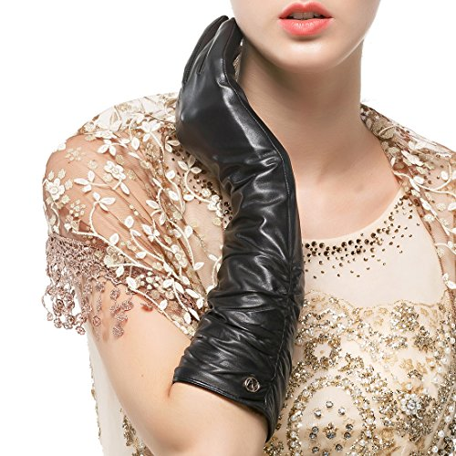 Nappaglo Women's Winter Long Leather Gloves Genuine Nappa Leather Touchscreen Ruched Elbow Party Mittens (M (Palm Girth:7.2'), Black (Touchscreen))