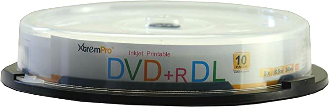 XtremPro DVD+R DL 8X 8.5GB 240min Recordable & White Inkjet Printable Double Layer DVD 10 Pack Blank Discs in Spindle - 11125