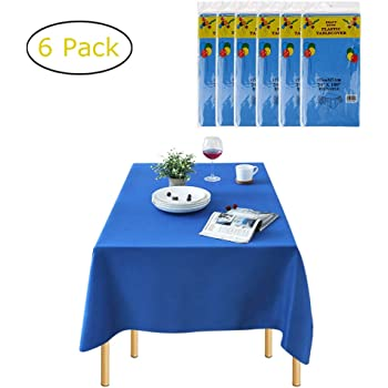 Rectangle Disposable Table Cover E-TRENDS 6 Pack Premium Heavy Duty Plastic Tablecloth x 108 Inch 54 Inch Mauve