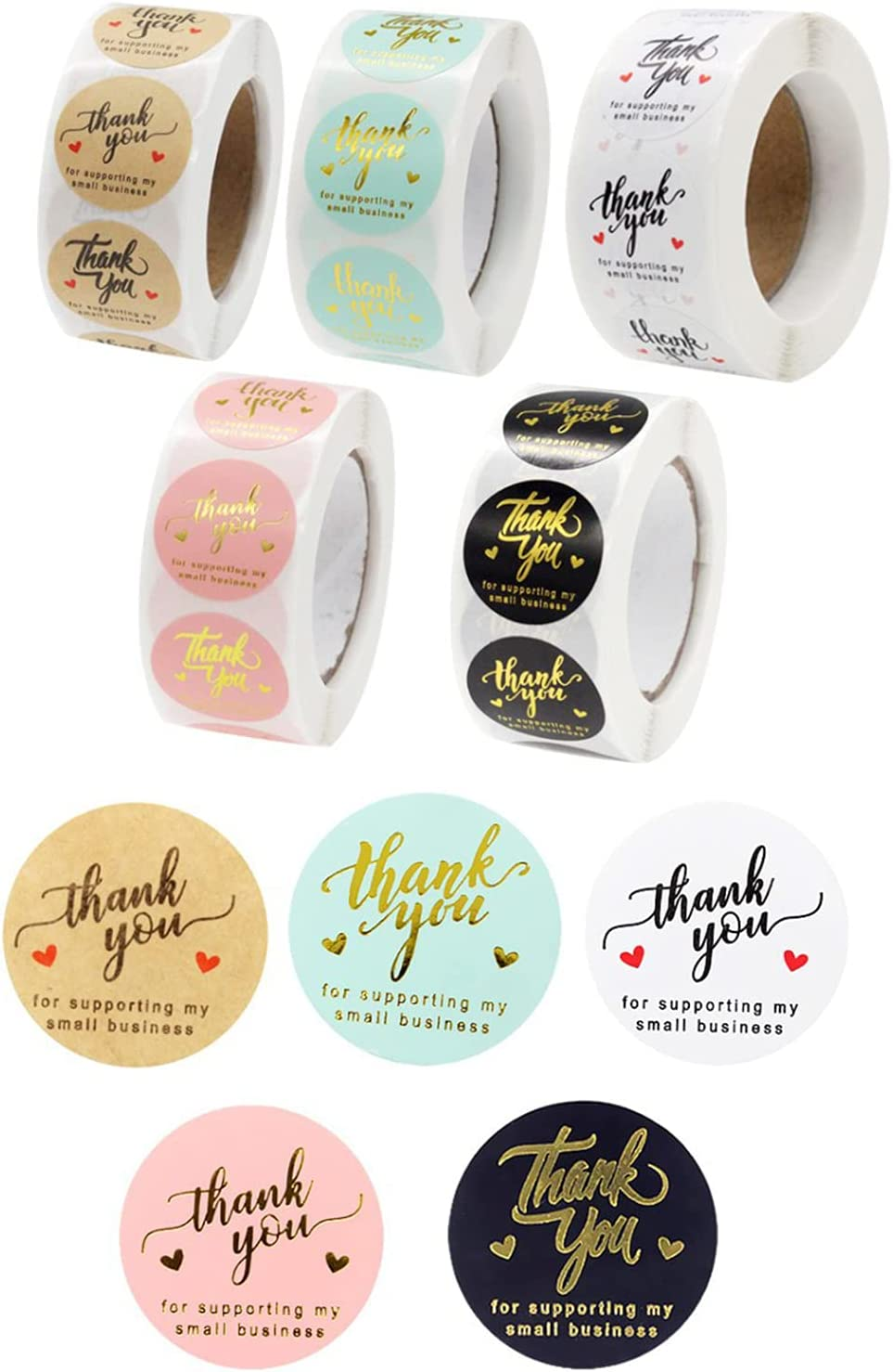 5 Rolls 2500 Pieces Thank You Label Stickers,Thank You for Supporting My Small Business Stickers Roll for Sealing Decorating Envelope,Packaging Boxes,Greeting Cards,Gift Wraps,Bubble Mailers