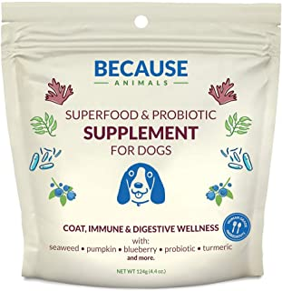 Because Animals Superfood & Probiotic Supplement for Dogs (4.4oz) - All-Natural, Human-Grade Ingredients -with Vitamins, M...