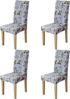Eage Dining Chair Covers 4 Pack, Super Fit Stretch Removable Washable Spandex Fabric Seat Slipcover for Hotel, Ceremony, Kitchen, Banquet Wedding Party