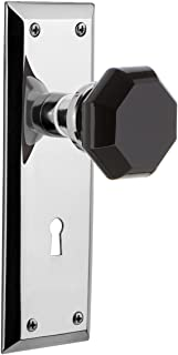 Nostalgic Warehouse 726379 New York Plate Interior Mortise Waldorf Black Door Knob in Bright Chrome, 2.25 with Keyhole