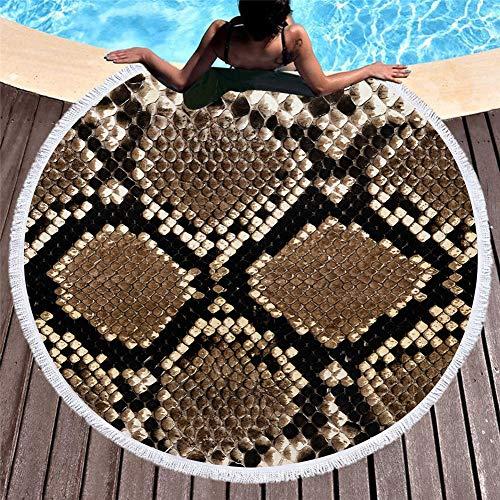 Stillshine. Textura Piel Animal 3D Toalla Playa Redonda Toalla Baño Borlas Manta 60 Pulgadas Leopardo Cebra Patrón Cocodrilo Alfombra Rollo Falda Toalla de Sauna (A3,150x150 cm 60 Pulgadas)