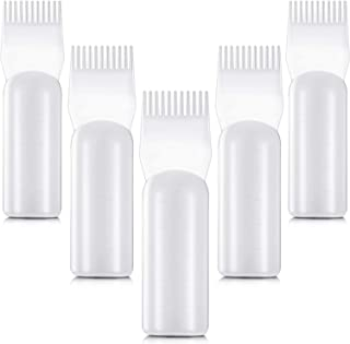 5 Pieces Root Comb Applicator Bottles Hair Dyeing Bottles with Graduated Scale for Salon Home Supplies
