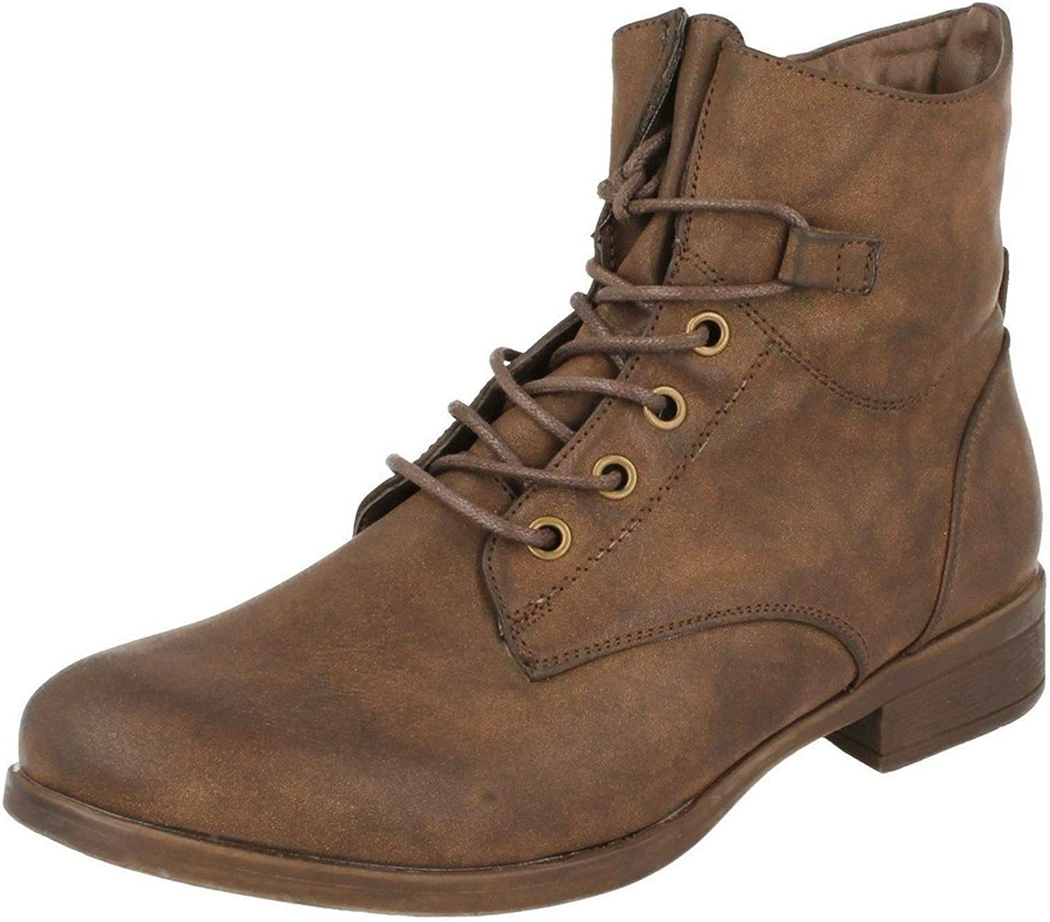 Spot On Womens Ladies Military Style Lace Up Ankle Boots