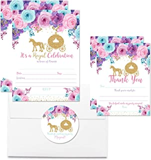 Deluxe Floral Gold Glitter Princess Carriage Birthday Party Bundle, Includes 20 Each of 5