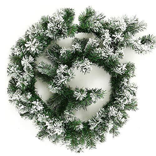 You's Auto 6Ft/1.8M Weihnachtsgrüne Girlande Dekoration, Schnee Spitze Green Pine Xmas Festlicher Kranz für Weihnachten Thanksgiving Hausgarten Urlaub Hochzeit Party Treppen Kamine