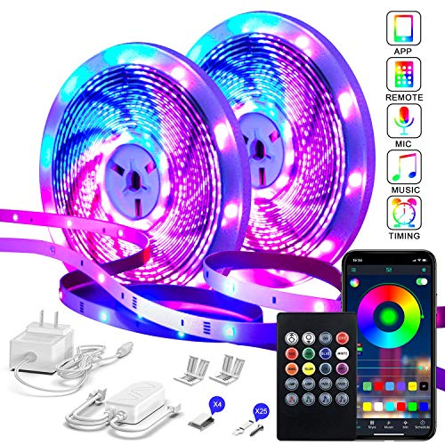 82Ft/25m LED Strip Lights,Micomlan Music Sync Color Changing RGB LED Strip Built-in Mic, Bluetooth APP Controlled LED Lights Rope Lights, 5050 RGB LED Light Strip(APP+Remote+Mic+Music )