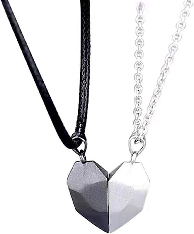 2 Pcs Heart Shaped Pendant Choker Two Souls One Heart Pendant Necklace Sweet Wishing Stone Matching Puzzle Couple Necklace Jewelry for Girlfriend Boyfriend