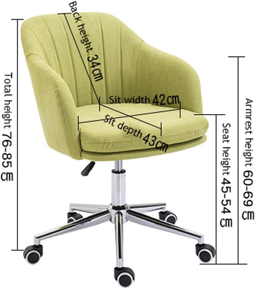 OLMME Chaise de Bureau en Velours Chaise D'appoint Pivotante Réglable en Hauteur Chaise de Bureau à Domicile pour Ordinateur avec Accoudoir(Color:Rose) Bleu