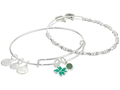 Alex and Ani Duo Charm Bangle Bracelet, Set of 2 (Silver/Four Leaf Clover) Bracelet