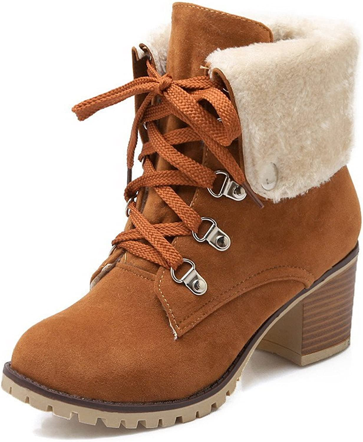 AmoonyFashion Women's Low Top Assorted color Lace up Round Closed Toe High Heels Boots