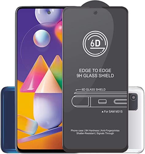 Affix Edge to Edge Tempered Glass for Samsung Galaxy M31S with Easy Self Installation Kit Black Edge to Edge Full Screen Coverage