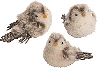 C&F Home Snow Covered Chickadee Bird Friends Shimmering White 5 Inch Wool Decorative Hanging Christmas Ornaments Set of 3