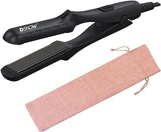DSHOW 0.5 inch Mini Size Portable Ceramic Flat Iron Hair Straightener for Travel Dual Voltage, Black