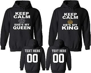 Keep Calm King Queen Pattern Customized Text Name Design Couple Hoodie Crewneck Sweatshirt Tank top & T-Shirt