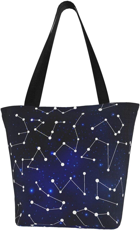 Blue Zodiac Constellation Charm Stars Leo Themed Printed Women Canvas Handbag Zipper Shoulder Bag Work Booksbag Tote Purse Leisure Hobo Bag For Shopping